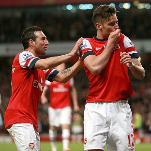 Olivier Giroud, right, scored a fine goal in Arsenal's 3-1 win over West Ham