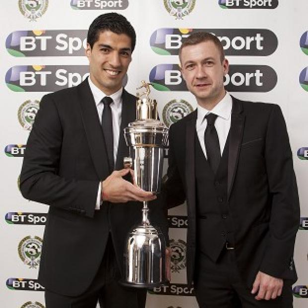 Burnley and Pendle Citizen: Luis Suarez, left, won the Professional Footballers' Association's Player of the Year award on Sunday