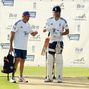 Alastair Cook, right, will no longer be working officially alongside Graham Gooch, left