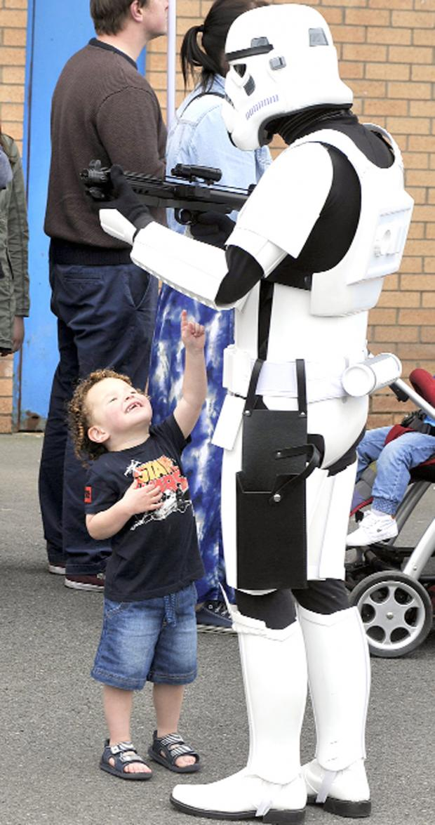 Burnley and Pendle Citizen: Charlie Wilson, five, meets a Storm Trooper