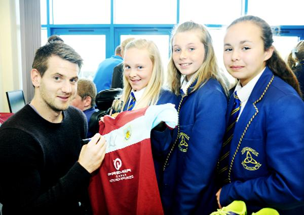 Burnley and Pendle Citizen: Tom Heaton with Olivia Moffitt, Tabitha Connolly and Millie Schofield