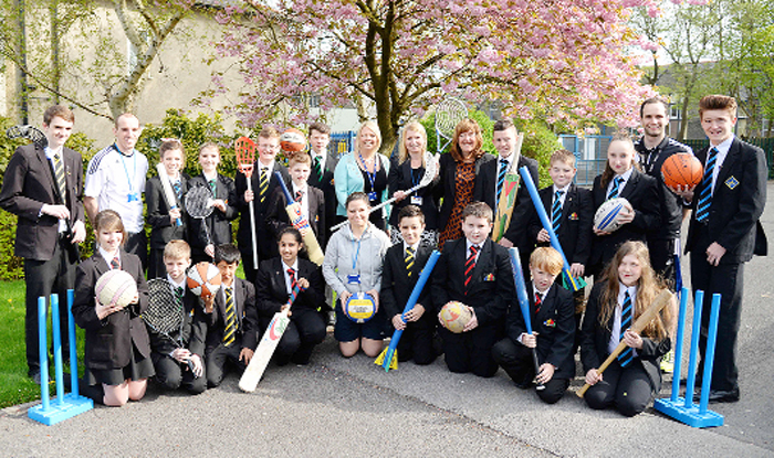 Staff and pupils at colne Primet Academy which has received a major funding boost to its sports provision.