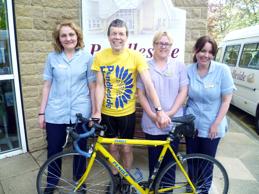 From the left, Gillian Schofield (staff nurse), Peter Booth,  Kerry McLaughlin (auxiliary nurse) and Phillipa Foster (staff nurse)