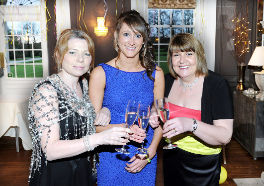 From left, Vanessa Hollings, of Family Care; Joanne Edwards, founder of The Friends of Serenity; and Anita Fleming, head of midwifery at the glittering fundraiser