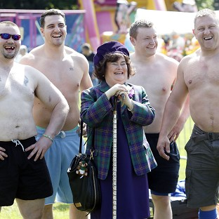 Chieftain of the British Pipe Band Championships Susan Boyle meets highland games competitors at