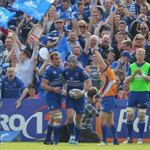 Burnley and Pendle Citizen: Shane Jennings celebrates his try in Leinster's victory