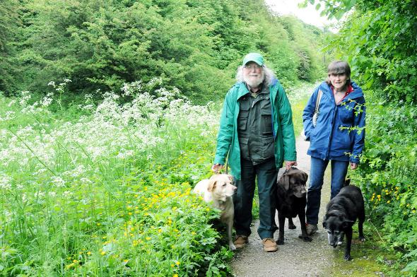 Burnley and Pendle Citizen: Chairman Dave and Sue Penney with their dogs Poppy, Jasper and Evie. Right, warden Annette Hawkins Pictures: Julian Brown