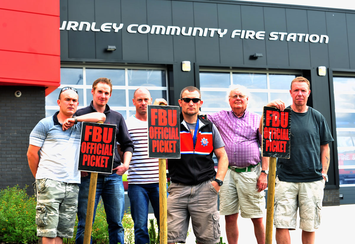 Firefighters Simon Wright, John Rivett, crew manager Charlie Cottam, firefighter Jimmy Barrow, national pensions conventions activist Phil Newton and crew manager Alan Ashworth