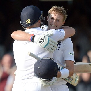 Joe Root celebrates his century in the opening Test against Sri Lanka at Lord's