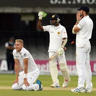 Stuart Broad, left, thought he had won the match for England