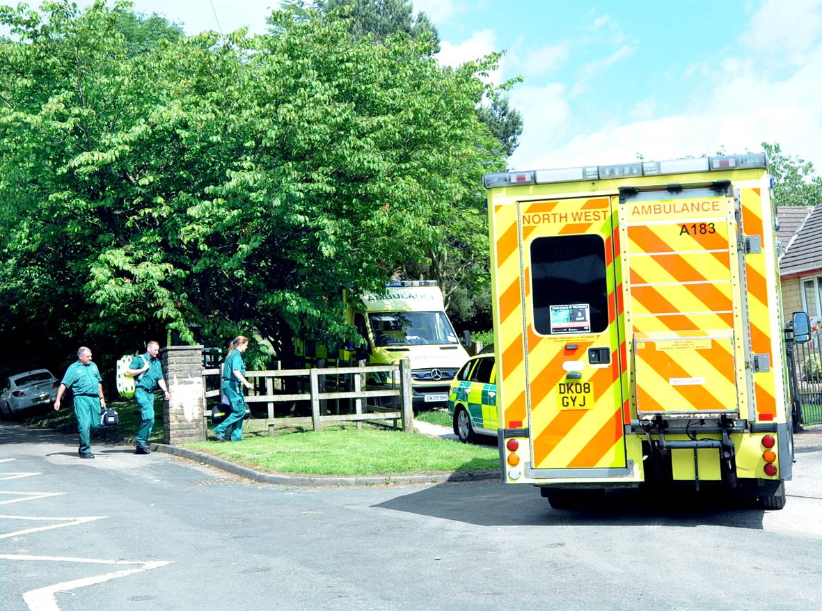 Paramedics attend Briercliffe Primary School where 13 children and the deputy head were injured