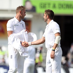 Stuart Broad, left, claimed a hat-trick while Liam Plunkett finished with five for 64