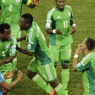 Nigeria's Peter Odemwingie, right, celebra