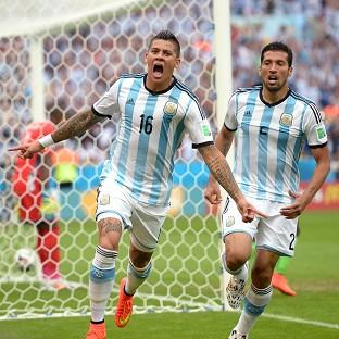 Marcos Rojo, left, scored in Argentina's win over Nigeria