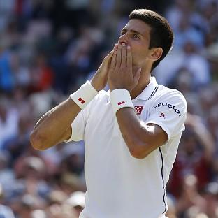 Novak Djokovic, pictured, and Roger Federer will meet in a second grand slam final at Wimbledon on Sunday