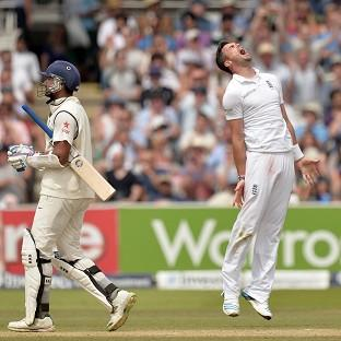 James Anderson celebrates the wicket of Murali Vijay, who fell five runs short of a ton