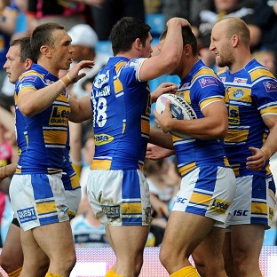 Ryan Hall, second right, scored two tries for Leeds