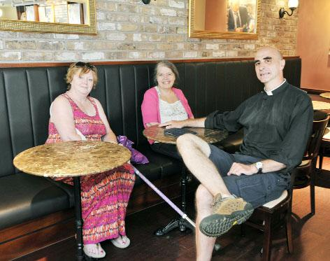 The Rev Andy Froud with Linda Woodworth and  the Rev Joy Richardson after a Death Cafe meeting at Cafe Nero, Clitheroe