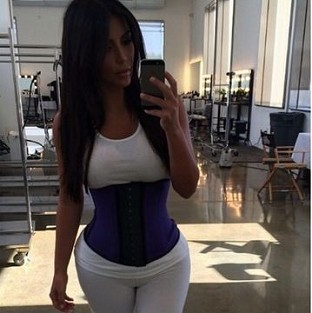 Kim Kardashian shared a picture of herself in a tight corset