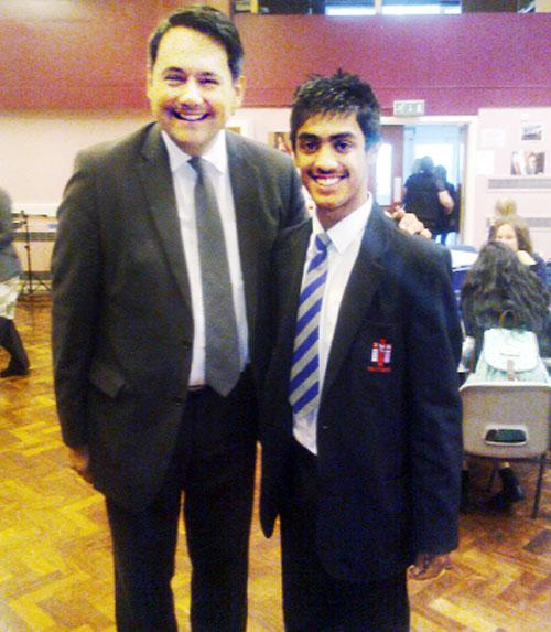 Jamaal Iqbal, the first non-Catholic head boy at Fisher More High, with with former schools minister Stephen Twigg