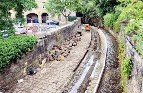 Work in progress on the river bank in Burnley